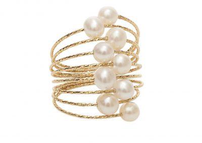 magic wire nr01 - anillo oro espiral perlas - anillos mujer oro amarillo - anillos moda - joyeria marga mira