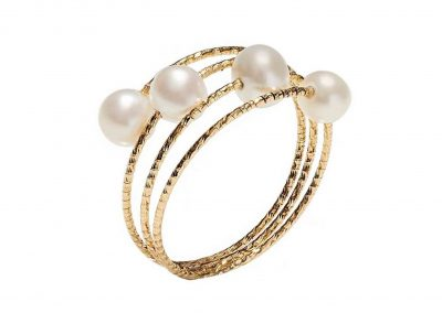 magic wire nr02 - anillo trilly oro espiral perlas - anillos mujer oro amarillo - anillos moda - joyeria marga mira