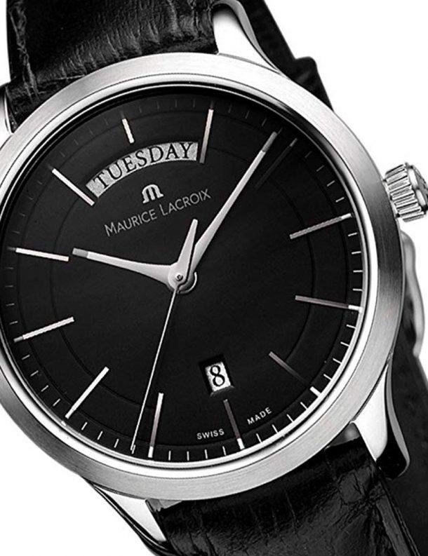 Reloj Maurice Lacroix Les Classiques LC1007-SS001-330 c - correa piel - esfera negra