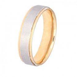 alianza plana bicolor a1006ba - alianzas boda alicante - joyeria marga mira - gold wedding in alicante - jewelry in alicante